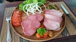 Salami and ham breads