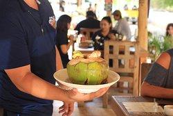 Coco estilo la Ola! this one is magnific!! Shrimp ceviche inside a local fresh coco!!