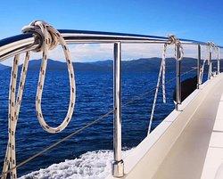 Scenic cruising around Dubrovnik archipelago with JEANNEAU Prestige 42.