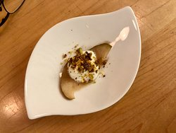 Amuse Bouche - Pickled Pear Slice with Blue Cheese Puree and Ground Pistachios