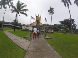 My hunt for King Kamehameha while on Oahu a heard a story of King Kamehameha and how Hawaiian paid to have a statue build of his remembrances. The first statue was lost at sea. Then the people had another statue build for the same price and shipped to them. While the second statue was on it's the way the first statue was found and it was decided that they wanted both statues. The first build statue was placed here in the home town of King and the second on Oahu. A third was placed in DC