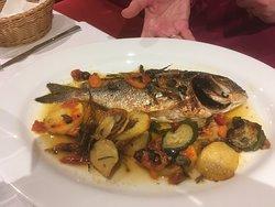 Baked sea bream & mediterranean vegetables.