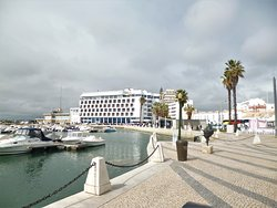 "Mosaic sidewalks and the ""Marina de Faro""."