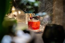 Cocktail ''Old City'' with bourbon, cherry syrup, bitter, cinnamon