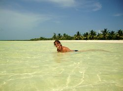 Right on Cayo Blanco beach about 3 km from the main restaurants