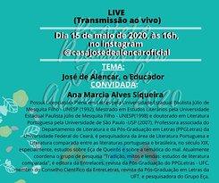 Próxima live no Instagram da Casa de José de Alencar