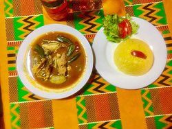 Amazing Light soup With Barbuda Fish and mixture of Attiéké and Palmnut Oil (Attiéké is made with dry cassava) it's so Delicious!