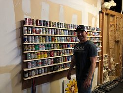 John and his historic beer can collection. So fun!