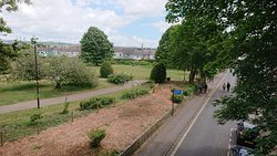 The new frontage of the park from Market Street, seen from a bridge on the Honeybourne line