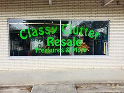 """Our inventory isn't just """"clutter"""" it is """"CLASSY"""" clutter with tons of TREASURES & more.  From antique furniture, vintage glassware, small appliances, to name brand clothing & shoes, jewelry, popular name brand handbags, chic furniture and so much more!!!"""