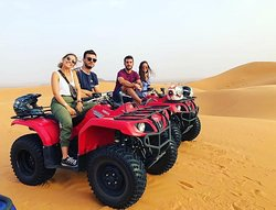 Quad biking in Merzouga Sahara desert, one of the must famous and popular activities to explore Erg chebbi dunes with little adventure and fun.