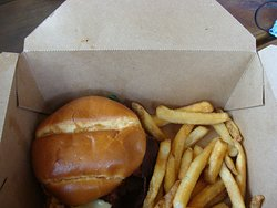 Maple bourbon chicken sandwich and fries. Great meal.