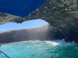 Marietas island and Punta Mita, two Mexican' pearls, you should not miss when traveling in this area. Bahia de Banderas is the gulf in front to Puerto Vallarta and the island is in the middle of it, close to Punta Mita that is 1 hour driving away fro the airport. From Punta Mita you'll get a charter boat that will take you in front to the island and than you will access the amazing beach swimming trough a cave tunnel. All the peninsula is very nice many celebrities own a villa there.