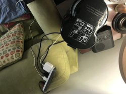 one plug strip, on the room floor.  This is how we charged phones, plugged in computer and coffee maker.  Sad.