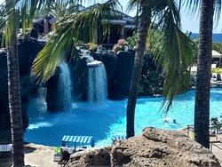 water falls leading to swimming pool