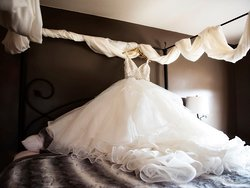Wedding gown on display