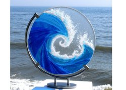 Fused glass wave by Ailsa Nicholson