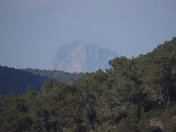 From the cliffs next the hotel you can see the top of es Vedra, located on the other side of the island.