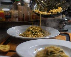 Shrimp Scallop pesto Linguine