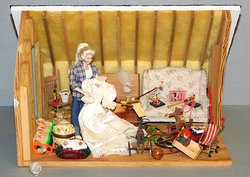 Girl with Grandma's Dress In the Attic by Dorothy Lindstaedt