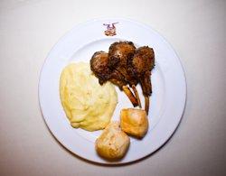 Lamb chops, Brazilian mashed potatoes, and Brazilian cheese bread