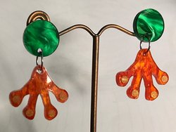 My latest colourway of the new acrylic laser-cut Lucky Frog earrings