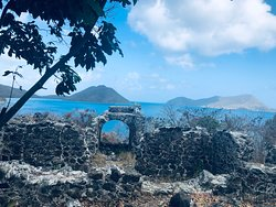 Hiking at Waterlemon Cay...amazing ruins atop of the hill.