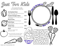 Our kid's menu for guests 10 and under.