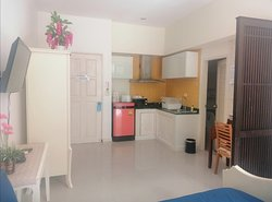 Family studio with kitchen for 4 Pers front the pool
