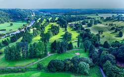 Aerial view from above 9th Green towards the Clubhouse at Bridgnorth Golf Club,  The Best Golf Course in Shropshire