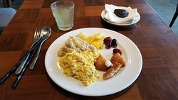 Good breakfast with aloe vera juice.