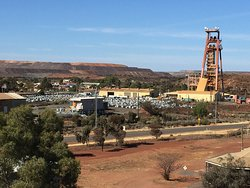 A view of a working mine from the top of the Museum Poppet Head.