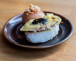temari with tempura leek and befing with local trout