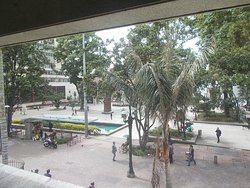 """View of the small plaza in front of the Museum (from the """"long window"""" on the 2nd floor)"""