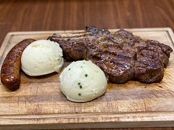 Rib eye Steak with Sweet Italian Sausage and homemade mashed potatoes, Father's Day Special.
