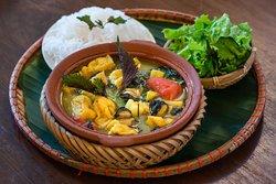 Braised escargot with green banana, tofu, pork belly and Vietnamese herbs.