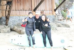 Skyler and Luke surfing in Laguna Beach California with Goff tours 6-22-20