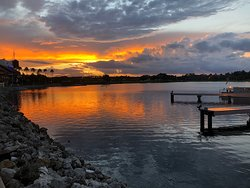 Pretty sunset over lake