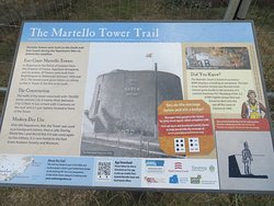 Wall board describing the Martello Towers in general and the trail between Point Clear and Walton on the Naze - about 20km.