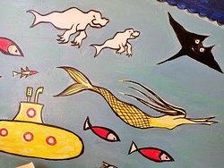 parete con disegni tipo subaqueo