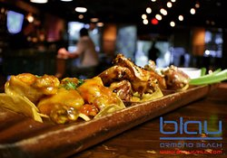 Chef Special: 3 way jumbo wings  - Pina Colada - Carolina Jerk - Grilled Pineapple     Teriyaki,  served w crispy celery & Smoked Bleu cheese dipping sauce over golden fried tortilla chips.