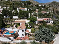 Aerial view of Villa Andalucia showing the Banana Room and terrace below the swimming pool