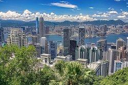 The Hong Kong City view from Barker Road at the Peak