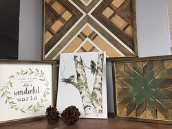 Handcrafted wood geometric mosaics and high quality custom farmhouse signs by Homestead Design, and original birch and bird watercolors by Whispering Woods