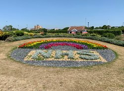 A newly planted flower bed in Portsmouth on Southsea Common planted to celebrate the work of the NHS and all it's staff