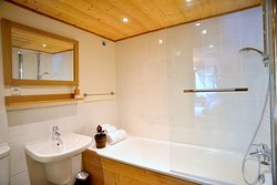 Chalet Cannelle Antler Bedroom - double superking bed  - bath/shower ensuite - mountain view