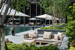 The Courtyard at The Chedi Andermatt. Oasis of the Far East in the Swiss mountains.