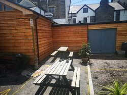 The new cladded beer garden wall (c) 2020