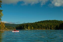 Kayak, canoe, motor boat and stand up paddle board rentals on site.  With such a calm, clean and warm lake, it's worth exploring.