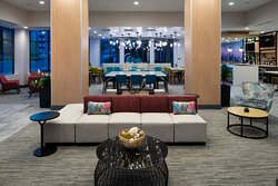 Seating and electrical outlets for your devices are plentiful in our lobby.